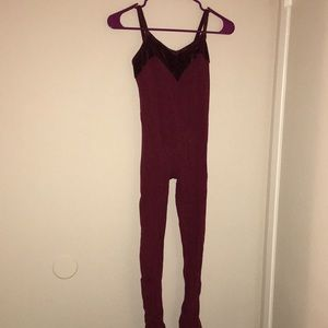 Unitard with velvet line at top